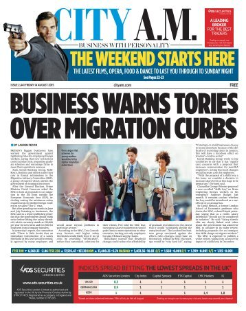 BUSINESS WARNS TORIES OVER MIGRATION CURBS