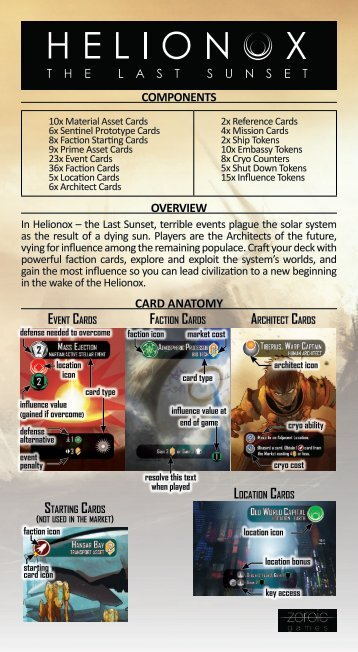Event Cards Faction Cards Architect Cards Starting Cards Location Cards
