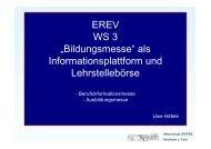 """EREV WS 3 """"Bildungsmesse"""" als Informationsplattform und ..."""