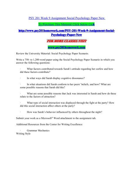 PSY 201 Week 9 Assignment Social Psychology Paper New/psy201homeworkdotcom