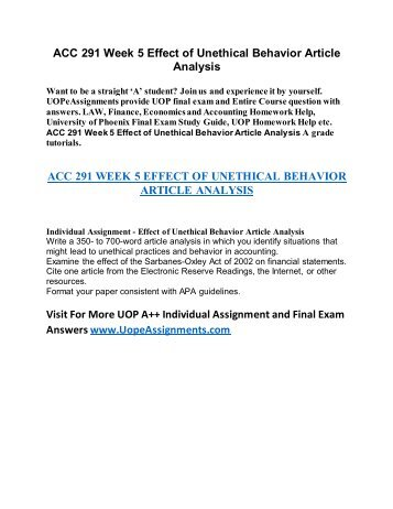 effect of unethical behavior in accounting