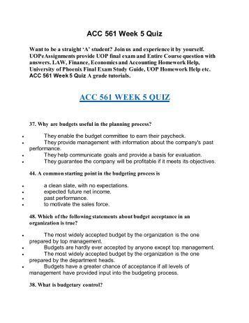 acc 561 week one quiz
