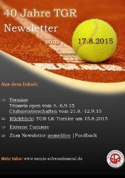 40  Jahre TGR - Newsletter vom 17.8.2015