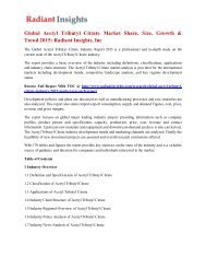 Global Acetyl Tributyl Citrate Market Share, Size, Growth & Trend 2015 Radiant Insights, Inc.pdf