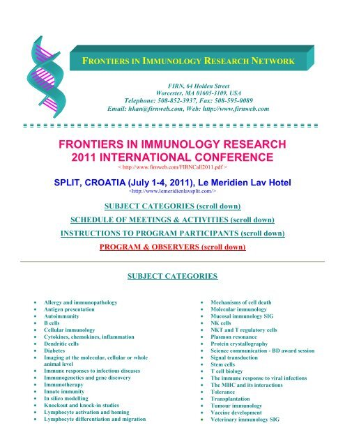frontiers in immunology research 2011 international conference