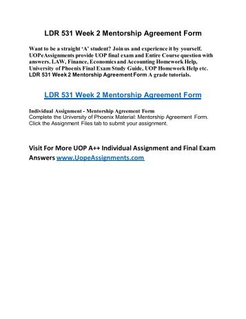 Ldr 531 Week 2 Mentorship Agreement Form Online Homework Help