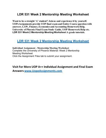 ldr531 mentorship worksheet wk6 Ldr 531 new week 2 mentorship meeting worksheetpdf  ldr 531 week 6  team assignment failure analysis and change strategy (new) $800 check  out.
