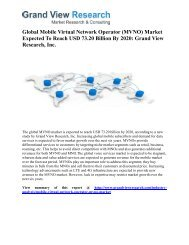 Mobile Virtual Network Operator (MVNO) Market Size, Segmentation To 2020: Grand View Research, Inc.