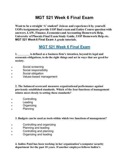 UOP Course Homework Help MGT 521 Week 6 Final Exam
