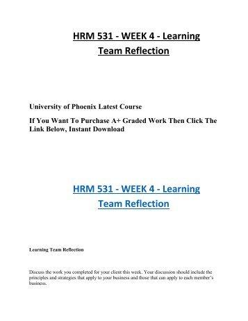 HRM 350 Week 2 Learning Team Outline