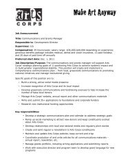 Job Announcement Title: Communications and Grants ... - Arts Corps