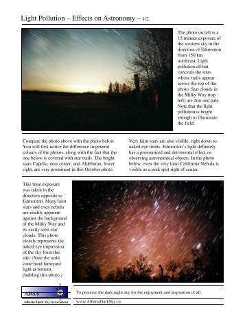 Light Pollution – Effects on Astronomy –