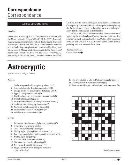 jrasc june 1998 final - The Royal Astronomical Society of Canada