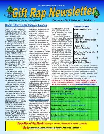 Volume 11 - Edition 12 December 2011 - DiscoverTeenergy.com