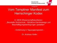 Vom Templiner Manifest zum Herrschinger Kodex - GEW