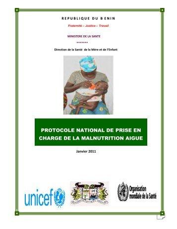 PROTOCOLE NATIONAL DE PRISE EN CHARGE DE LA MALNUTRITION AIGUE