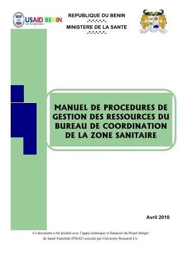 MANUEL DE PROCEDURES BZ - Ministère de la Santé