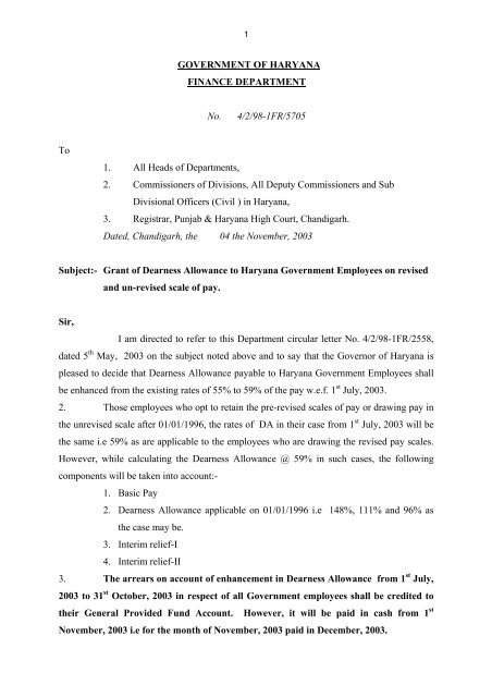 GOVERNMENT OF HARYANA FINANCE DEPARTMENT No  4/2/98