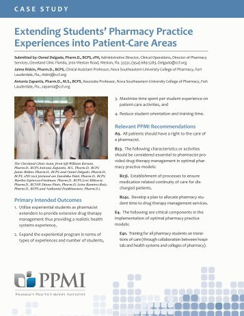 Extending Students' Pharmacy Practice Experiences into Patient-Care Areas