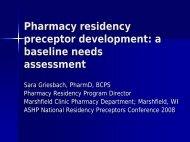 Pharmacy residency preceptor development a baseline needs assessment