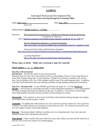 Sample Individual Professional Development Plan (IPDP) Goals