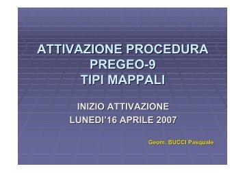 ATTIVAZIONE PROCEDURA PREGEO-9 TIPI MAPPALI