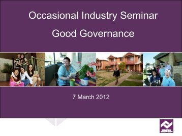 Occasional Industry Seminar Good Governance