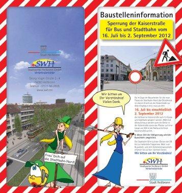Sperrung der Kaiserstraße für Bus und Stadtbahn vom 16. Juli bis 2.