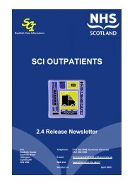 SCI OUTPATIENTS - SCI - Scottish Care Information