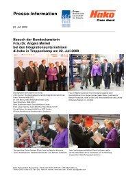 Besuch der Bundeskanzlerin Frau Dr. Angela Merkel bei den - Hako
