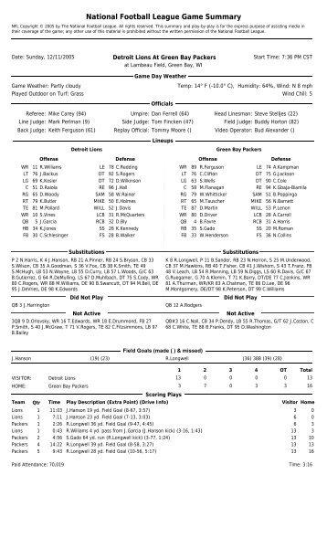 National Football League Game Summary