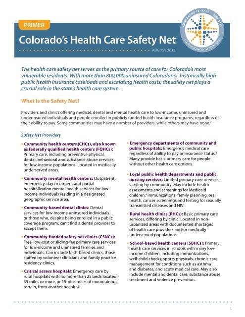 PRIMER - Colorado Health Institute