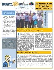 Rotary Club of Kampala North Bulletin - August 17-23, 2015