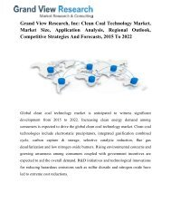 Clean Coal Technology Market Forecast, Trends To 2022: Grand View Research, Inc.