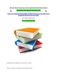 RES 341 Week 2 Learning Team Assignment Research Process Paper/Snaptutorial