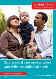 Getting social care services when your child has additional needs