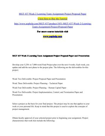 Week  Learning Team Assignment Project Proposal PaperPdf