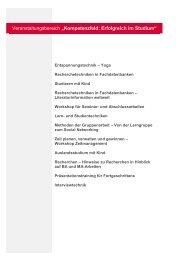"""Veranstaltungsbereich """"Kompetenzfeld: Erfolgreich im Studium"""""""