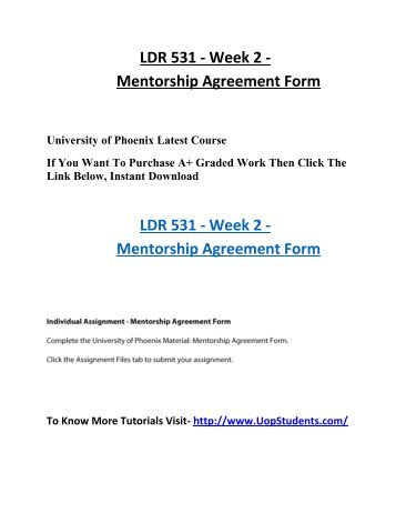 Ldr 531 Week 2 Mentorship Agreement Form Uop Students