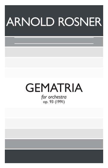 Rosner - Gematria, op. 93