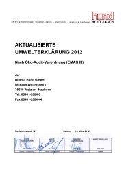 Aktualisierte Umwelterklärung 2012 (PDF) - Helmut Hund GmbH