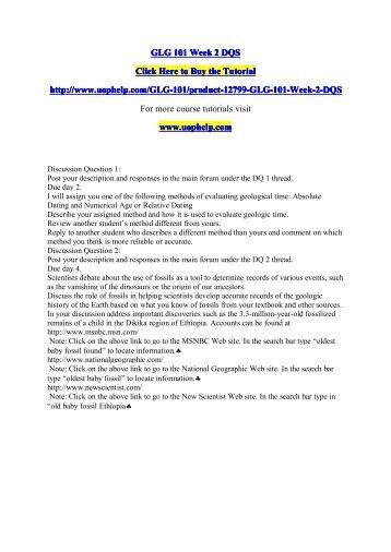 GLG 101 Week 2 DQS/uophelp