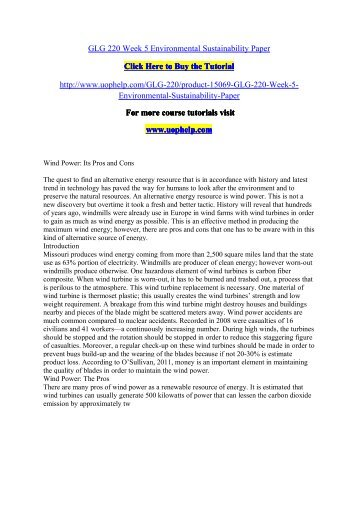 GLG 220 Week 5 Environmental Sustainability Paper/uophelp