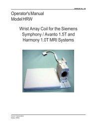 Wrist Array Coil for the Siemens Symphony / Avanto 1.5T ... - Invivo