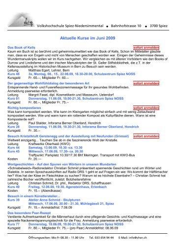 Aktuelle Kurse im Juni 2009