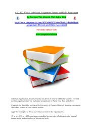 SEC 400 Week 1 Individual Assignment Threats and Risks Assessment/Snaptutorial