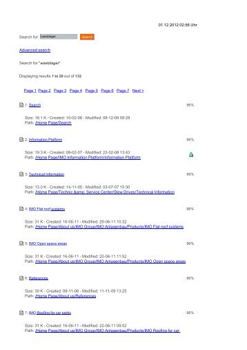 """31.10.2012 21:45 Uhr Advanced search Search for """"waelzlager - Imo"""