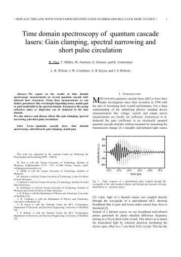 Time domain spectroscopy of quantum cascade lasers ... - ITQW07