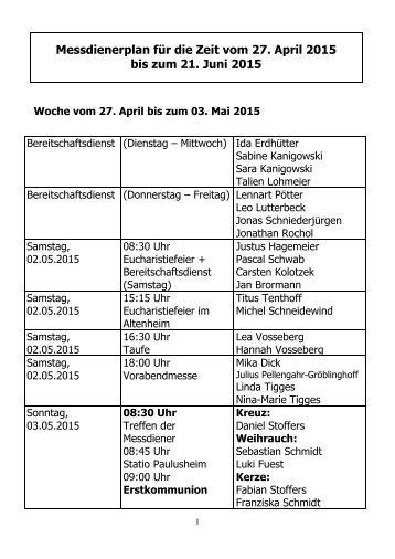 Messdienerplan für die Zeit vom 27 April 2015 bis zum 21 Juni 2015