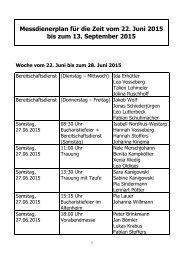 Messdienerplan für die Zeit vom 22 Juni 2015 bis zum 13 September 2015